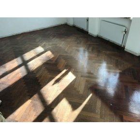 Merbau sildebens gulv afslebet & lakeret m. 3x mat lak.